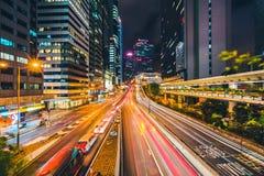 Arquitectura hermosa que construye el paisaje urbano exterior del horizonte de la ciudad de Hong-Kong fotografía de archivo libre de regalías