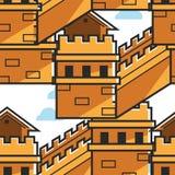 Arquitectura histórica de China de la construcción del modelo inconsútil de la pared china stock de ilustración