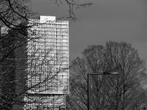 Arquitectura/horizonte de Rotterdam Kop van Zuid - negro y blanco Imagen de archivo libre de regalías
