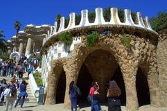 Arquitectura pintoresca de Guell del parque, Barcelona Imagen de archivo