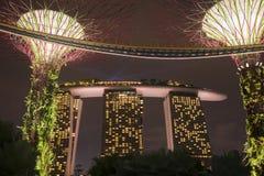 Arquitectura Singapur de la noche Foto de archivo