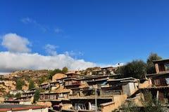 Arquitectura tradicional de Tíbet Residentail Foto de archivo libre de regalías
