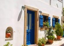 Arquitectura tradicional del pueblo de Chora en la isla de Kythera, Gre Foto de archivo libre de regalías