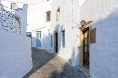 Arquitectura tradicional en el chora de la isla de Patmos, Dodecanese, Grecia Fotos de archivo libres de regalías