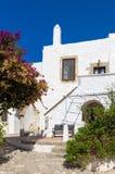Arquitectura tradicional en el chora de la isla de Patmos, Dodecanese, Grecia Foto de archivo