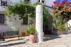 Arquitectura tradicional en el chora de la isla de Patmos, Dodecanese, Grecia Fotografía de archivo libre de regalías