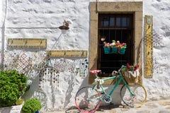 Arquitectura tradicional en el chora de la isla de Patmos, Dodecanese, Grecia Fotos de archivo