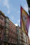 Arquitectura y bandera de Bilbao Fotografía de archivo