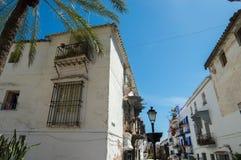 Arquitectura y palmtree españoles Foto de archivo libre de regalías