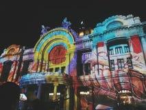Arquitecture, Bellas Artes Palace, Mexico City. Bellas Artes Palace, Mexico City. Tecnology ilumination night Stock Photos