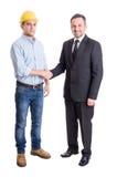 Arquiteto, coordenador ou contratante e homem de negócio agitando as mãos Fotografia de Stock