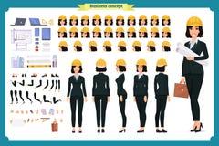 Arquiteto da mulher no terno de negócio e no capacete protetor ilustração stock