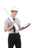 Arquiteto de sorriso que guarda uma tabuleta digital Imagens de Stock Royalty Free
