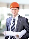 Arquiteto do negócio na construção Foto de Stock Royalty Free