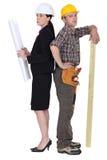 Arquiteto e carpinteiro Imagens de Stock Royalty Free