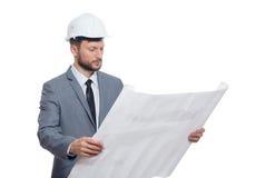 Arquiteto masculino maduro com um modelo imagem de stock