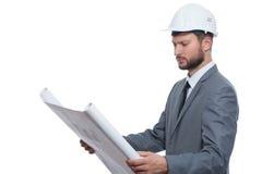 Arquiteto masculino maduro com um modelo fotografia de stock