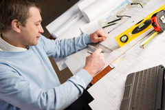 Arquiteto no trabalho. Foto de Stock