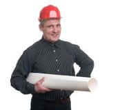 Arquiteto novo feliz do homem de negócios Fotos de Stock Royalty Free