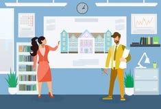 Arquitetos que fazem a apresentação a ilustração lisa ilustração stock