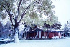 Arquitetura antiga chinesa no jardim nevando Fotos de Stock