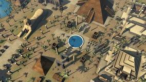 Arquitetura antiga crescente animado de Egito 4K ilustração royalty free