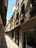 Arquitetura antiga das paredes de pedra de Veneza, Itália foto de stock