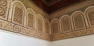 Arquitetura bonita e decoração de Bahia Palace Medina Marrakesh foto de stock royalty free