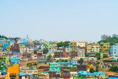 Arquitetura bonita na vila da cultura de Gamcheon em Busan fotos de stock