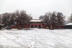 Arquitetura chinesa antiga no inverno foto de stock