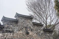 Arquitetura chinesa na borda da parede de Ming Dynasty imagens de stock