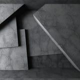 Arquitetura concreta abstrata Interior vazio escuro da sala ilustração stock