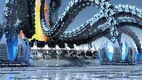 arquitetura 3D orgânica futurista ilustração do vetor