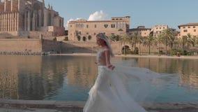 Arquitetura da cidade aérea de Palma de Mallorca com catedral, Balearic Island, Espanha video estoque