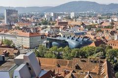 Arquitetura da cidade aérea do outono do centro de Graz, Áustria Imagem de Stock Royalty Free