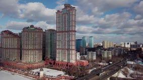 Arquitetura da cidade aérea do tiro da cidade de Moscou video estoque