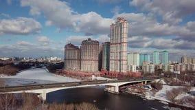 Arquitetura da cidade aérea do tiro da cidade de Moscou vídeos de arquivo