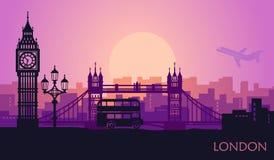 Arquitetura da cidade abstrata de Londres com as vistas no por do sol ilustração stock