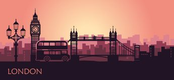 Arquitetura da cidade abstrata de Londres com as vistas no por do sol ilustração royalty free
