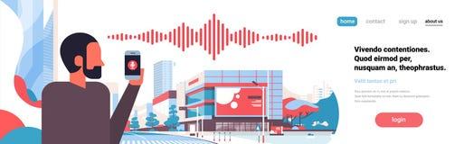 Arquitetura da cidade assistente pessoal do conceito da tecnologia das ondas sadias do reconhecimento da voz inteligente africana ilustração do vetor