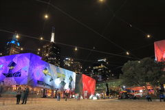 Arquitetura da cidade Austrália da noite de Melbourne Fotos de Stock Royalty Free