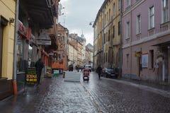 Arquitetura da cidade bonita do centro de Lvov cuty velho Fotografia de Stock