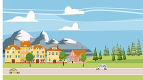 Arquitetura da cidade bonito, casas bonitas, montanhas, estilo dos desenhos animados, isolado, vetor, ilustração ilustração stock