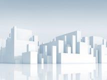 A arquitetura da cidade branca abstrata do diagrama esquemático 3d, rende ilustração stock