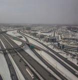 Arquitetura da cidade coberto de neve--Voo dentro a Montreal imagem de stock royalty free