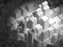 Arquitetura da cidade 3d digital abstrata com prédios de escritórios altos ilustração stock