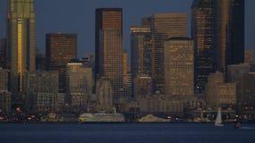 Arquitetura da cidade da balsa de Seattle video estoque