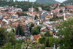 Arquitetura da cidade da cidade de Plovdiv do monte do tepe de Nebet Imagens de Stock Royalty Free