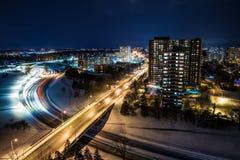 Arquitetura da cidade da noite Fotografia de Stock Royalty Free