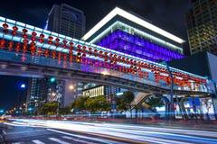 Arquitetura da cidade da noite de Taipei Fotos de Stock Royalty Free